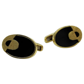 Vintage 14K Yellow Gold and Black Onyx Oval Cufflinks
