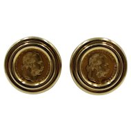 Pair of Vintage Austrian Ducat Gold Coin Earrings Mounted in 14K Yellow Gold