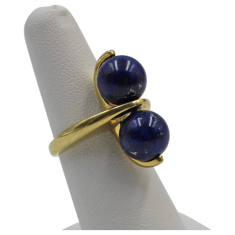 Vintage 18K Yellow Gold and Lapis Modernist Spinning Ring
