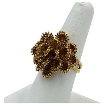 18K Yellow Gold Vintage Flower Cocktail Ring