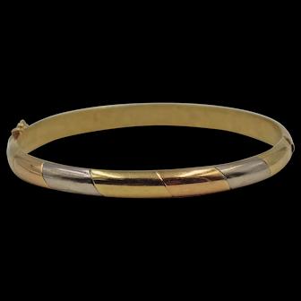 Vintage Tri-Color 18K Gold Hinged Bangle Bracelet