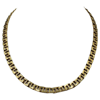 14K Yellow Gold Vintage Fancy Link Chain Necklace, 16 inches