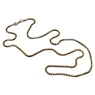 14K Yellow Gold Vintage Box Chain Necklace, 22 inches