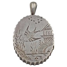 Antique Victorian Sterling Silver Locket, Birmingham dated 1880