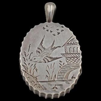 Antique Victorian Sterling Silver Locket, Birmingham dated 1880