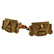 Pair of Vintage 18K Yellow Gold Incan Cufflinks