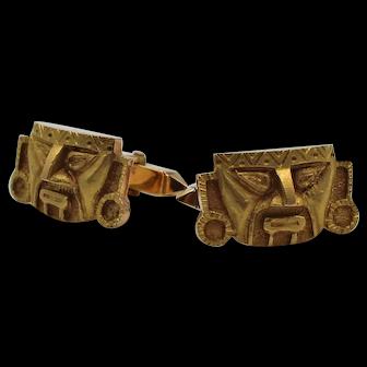 Pair of Vintage 18K Yellow Gold Incan Cufflinks