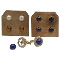 Vintage 14K Gold and Diamond Octagonal Cufflinks with Interchangeable Cabochons