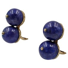 Vintage 14K Yellow Gold and Lapis Bead Ear Clips