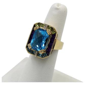 14K Yellow Gold Vintage Custom Blue Topaz Cocktail Ring