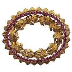 Vintage 18K Gold and Ruby Oval Wreath Brooch