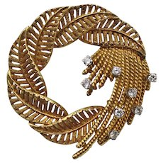 Vintage 18K Yellow Gold and Diamond Retro Wreath Brooch