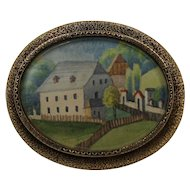 14K Yellow Gold Antique Mourning Brooch with Watercolor dated 1867