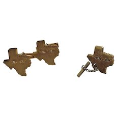 """Vintage 14K Yellow Gold """"Eyes of Texas"""" Cufflinks and Tie Tack Set with Diamonds"""