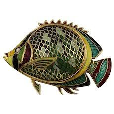 18K Yellow Gold Vintage Plique-a-Jour Fish Brooch
