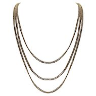Vintage 14K Yellow Gold Curb Link Triple-Strand Drape Necklace