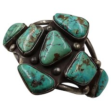 Vintage Native American Abstract Sterling Silver and Turquoise Cuff Bracelet