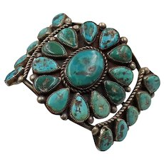 Vintage Native American Sterling Silver and Turquoise Cluster Cuff Bracelet