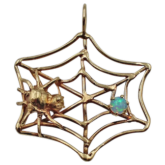Vintage 14K Yellow Gold Spider Web Pendant with Opal Cabochon