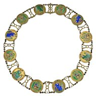 Vintage Enameled Peruvian Coin Necklace