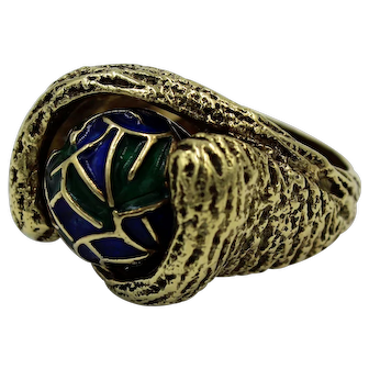 Vintage 14K Yellow Gold and Cloisonné Enamel Spinning Bead Ring