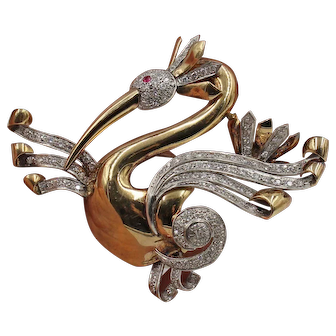 Large Retro 17K Yellow Gold and Platinum Diamond Bird Brooch