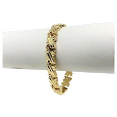 14k Yellow Gold Hollow X Cross Fancy Link Bracelet Italy 7 Inches