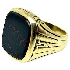 14k Yellow Gold Vintage Men's Bloodstone Ring 14.6g Size 8