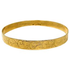 14k Yellow Gold Vintage Yell Newman Slide On Etched Bangle Bracelet 9 Inches