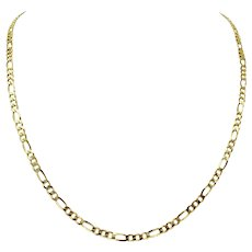 14k Solid Yellow Gold 14g Diamond Cut 3.8mm Figaro Link Chain Necklace 22""