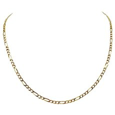 14k Solid Yellow Gold 3.5mm Figaro Link 11.6g Chain Necklace Italy 19 Inches