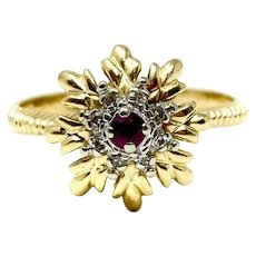14k Yellow Gold Vintage Ruby and Diamond Floral Ring Size 7
