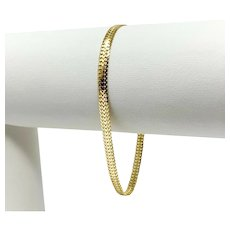 14k Yellow Gold Flat Fancy Link 3.5mm Chain Bracelet Italy 6.75 Inches