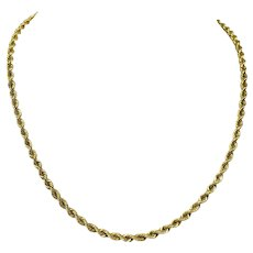 14k Yellow Gold 3.5mm Solid Rope 21.9g Chain Necklace 18 Inches