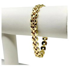 14k Yellow Gold Fancy Panther Link Chain Bracelet Italy 7.5 Inches