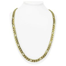 18k Italian Yellow Gold 66.7g Heavy Hollow 8mm Figaro Link Chain Necklace 31""