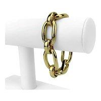 "18k Italian Yellow Gold 44.3g Ladies Polished Oval Link Bracelet 8"""