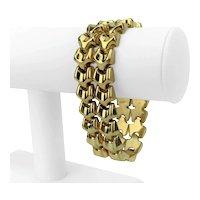 "18k Yellow Gold 77.3g Ladies Polished Fancy Link Bracelet 7.5"""