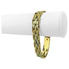 "18k Yellow Gold 29.4g Ladies Diamond Cut Fancy Link Bracelet Italy 8"""