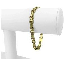 "14k Yellow Gold 11.3g Ladies Fancy Link Chain Bracelet Italy 7"""