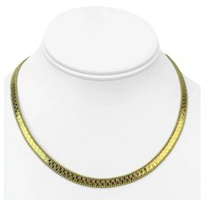 """14k Yellow Gold Fancy Beaded Etched Herringbone Link Chain Necklace Italy 16"""""""