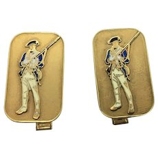 14k Yellow Gold and Enamel Vintage Cartier Armed Solider Cuff Links