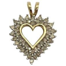 10k Solid Yellow Gold Vintage .46ct Diamond Heart Pendant