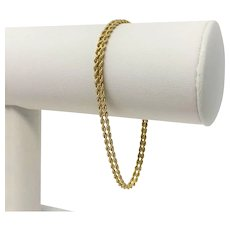 14k Yellow Gold Double Rope Bracelet Chain Bracelet 7.5 Inches
