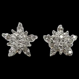 14k White Gold Vintage .5ct Diamond Snow Flake Design Cluster Stud Earrings