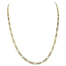 14k Solid Yellow Gold 2.7mm Figaro Link 8.7g Chain Necklace Italy 23 Inches