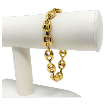 18k Yellow Gold Vintage Anchor Mariner Gucci Link Chain Bracelet Italy 8 Inches