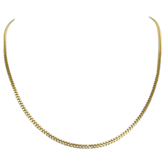 14k Solid Yellow Gold Thin 2mm Cuban Curb Link Chain Necklace 20 Inches