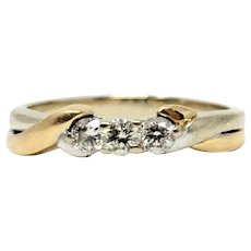 14k Gold Two Tone .24ct Three Diamond Wedding Ring Band Size 7.5