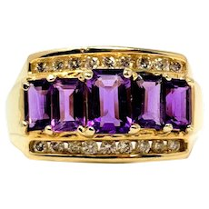 14k Yellow Gold Amethyst and Diamond Ring Size 8